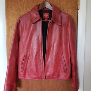 Distressed Gap Red Leather Jacket, Sz S